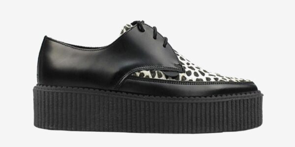 Underground Original barfly Creeper black leather with black and white leopard print pony hair shoe for men and women