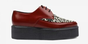 Underground Original barfly Creeper red leather with leopard print pony hair shoe for men and women