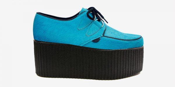 Underground Original Wulfrun Creeper turquoise pony hair shoe for men and women