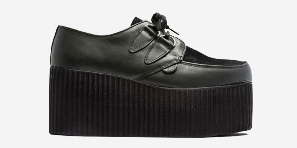 Underground Original Wulfrun Creeper black leather and black suede shoe for men and women