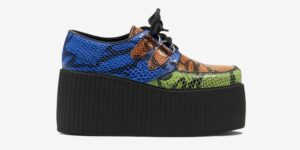 Underground Original Wulfrun Creeper green, orange and blue snake embossed shoe for men and women