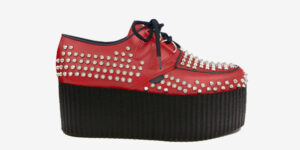 Underground Original Wulfrun Creeper red grain leather and all over studs for men and women