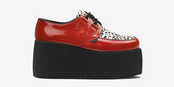 Underground Original Wulfrun Creeper red patent leather and leopard print pony for men and women