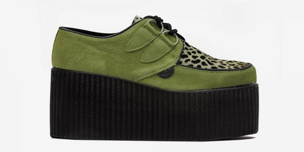 Underground Original Wulfrun Creeper green suede and pony hair leopard shoe for men and women