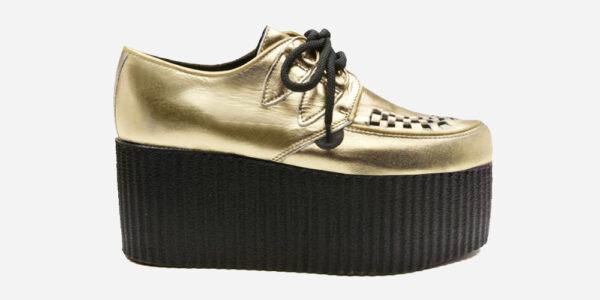 Underground Original Wulfrun Creeper metallic gold leather shoe for men and women