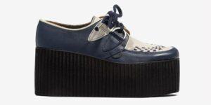 Underground Original Wulfrun Creeper navy and cream leather shoe for men and women