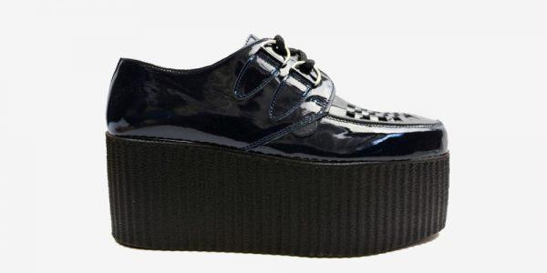 Underground Original Wulfrun Creeper navy patent leather shoe for men and women