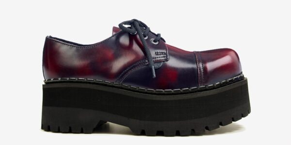 Underground Original Tracker burgundy rub off leather leather steel toe cap shoe with three eyelets for men and women