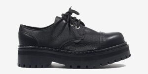 Underground England Original Tracker steel toe cap black tumbled leather shoe for men and women
