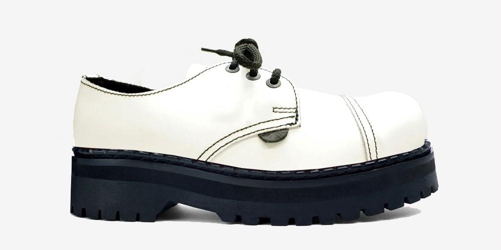 TRACKER 3 EYELET STEEL CAP SHOE – WHITE LEATHER – DOUBLE SOLE – CUSTOM MADE
