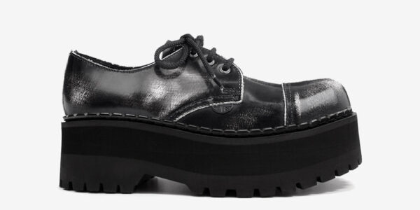 Underground Original Tracker black and white rub off leather leather steel toe cap shoe with three eyelets for men and women