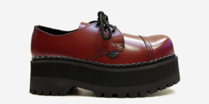 Underground Original Tracker cherry leather steel toe cap shoe with three eyelets for men and women