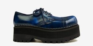 Underground Original Tracker navy rub off leather leather steel toe cap shoe with three eyelets for men and women