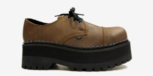 Underground Original Tracker tan aztec leather steel toe cap shoe with three eyelets for men and women