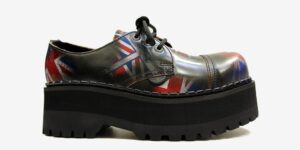 Underground Original Tracker Union Jack rub-off leather steel toe cap shoe with three eyelets for men and women