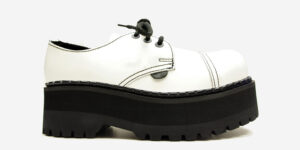 Underground Original Tracker white leather steel toe cap shoe with three eyelets for men and women