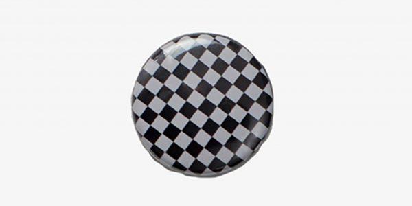 Underground England Checkboard button pin badge