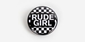 Underground England Black and white checked rude girl button pin badge
