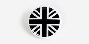 Underground England black and white union jack pin badge