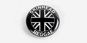 Underground England skinhead raggae button badge in black and white