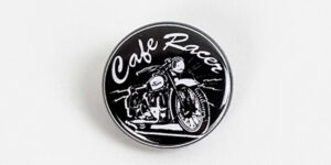 Underground England Cafe racer black and white button badge