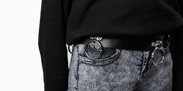 UNDERGROUND BELT – BLACK LEATHER – NICKEL PLATES & RING ACCESSORIES FOR MEN AND WOMEN