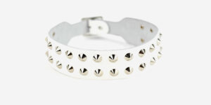 UNDERGROUND NECKBAND – WHITE LEATHER – 2 ROW NICKEL CONE SPIKE & CONICAL STUDS ACCESSORIES FOR MEN AND WOMEN