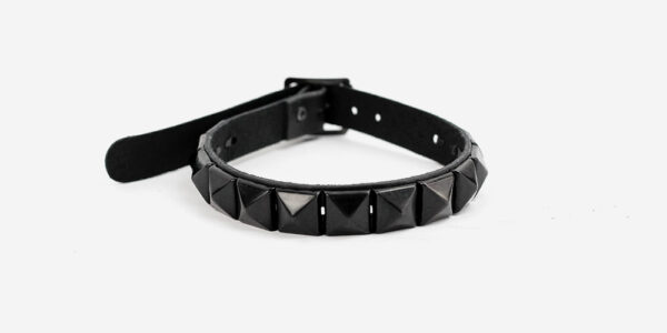 UNDERGROUND NECKBAND – BLACK LEATHER – 1 ROW BLACK PYRAMID STUDS ACCESSORIES FOR MEN AND WOMEN