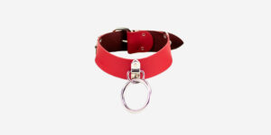 UNDERGROUND NECKBAND – RED LEATHER – NICKEL PLATES & RING ACCESSORIES FOR MEN AND WOMEN