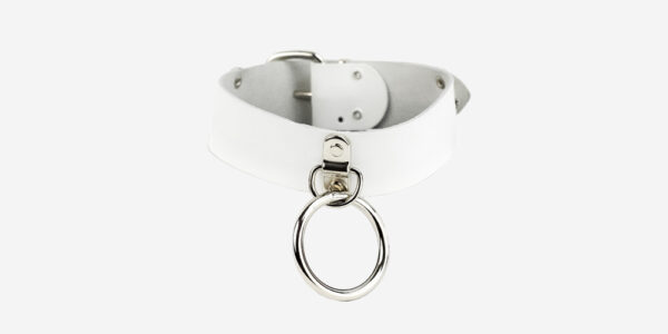 UNDERGROUND NECKBAND – WHITE LEATHER – NICKEL PLATES & RING ACCESSORIES FOR MEN AND WOMEN