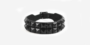 UNDERGROUND NECKBAND – BLACK LEATHER – 2 ROW BLACK PYRAMID STUDS ACCESSORIES FOR MEN AND WOMEN