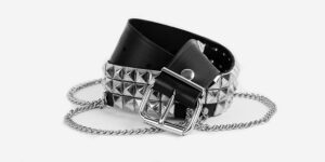 UNDERGROUND BELT – BLACK LEATHER – 3 ROW NICKEL PYRAMID STUDS & CHAINS ACCESSORIES FOR MEN AND WOMEN