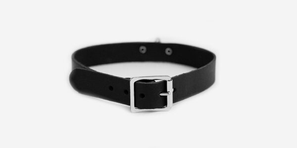 UNDERGROUND NECKBAND – BLACK LEATHER – NICKEL PLATE & RING ACCESSORIES FOR MEN AND WOMEN