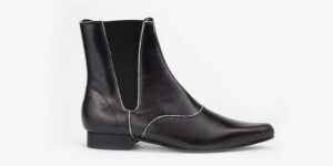 Underground England Winklepicker Chelsea black metallic leather boot for men and women