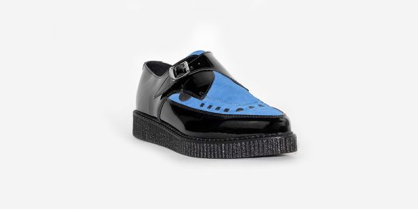 Underground Original Apollo Creeper black patent leather with royal blue suede buckle shoe for men and