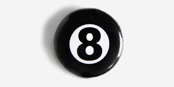 Underground England black and white magic 8 ball pin badge