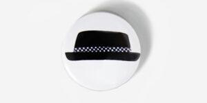 Underground England black and white pork pie hat button badge