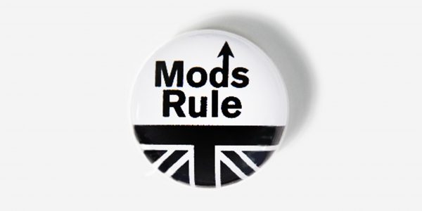 Underground England black and white mods rule pin button badge
