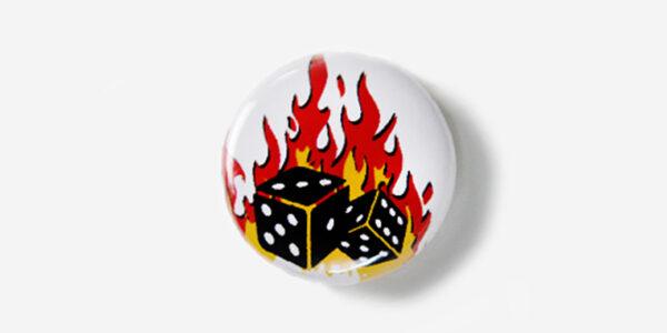 Underground England Lucky dice button badge
