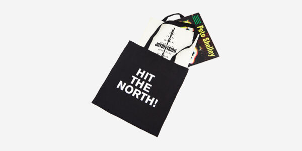 UNDERGROUND ENGLAND BLACK HIT THE NORTH BLACK CANVAS TOTE BAG FOR MEN AND WOMEN