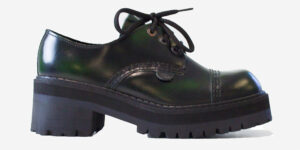 UNDERGROUND LEX CHUNKY 3 EYELET SHOE – GREEN RUB-OFF LEATHER – CUSTOM MADE SHOES FOR MEN AND WOMEN