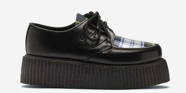 Underground Original Wulfrun Creeper black leather and Gordon Tartan shoe for men and women