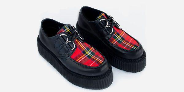 Underground Original Wulfrun Creeper black leather and Stewart red Tartan shoe for men and women