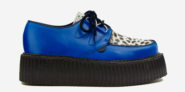 Underground Original Wulfrun Creeper Royal Blue leather and black and white leopard pony hair shoe for men and women