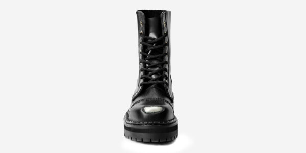 Underground Original Steel Cap Stormer black tumbled leather combat boot with buffed toe for men and women