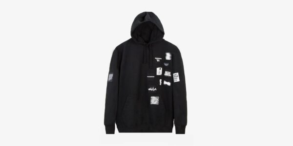 Underground England British Sound Manchester 91 screen-print patches pull over hoodie in black for men and women