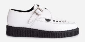 Underground Original Apollo Creeper white leather buckle shoe for men and
