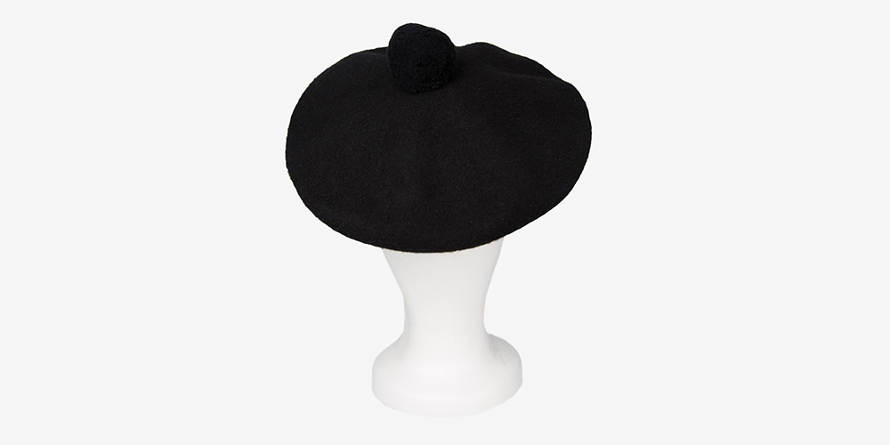 LAMBSWOOL BERET TAM HAT WITH SAFETY PIN DETAIL