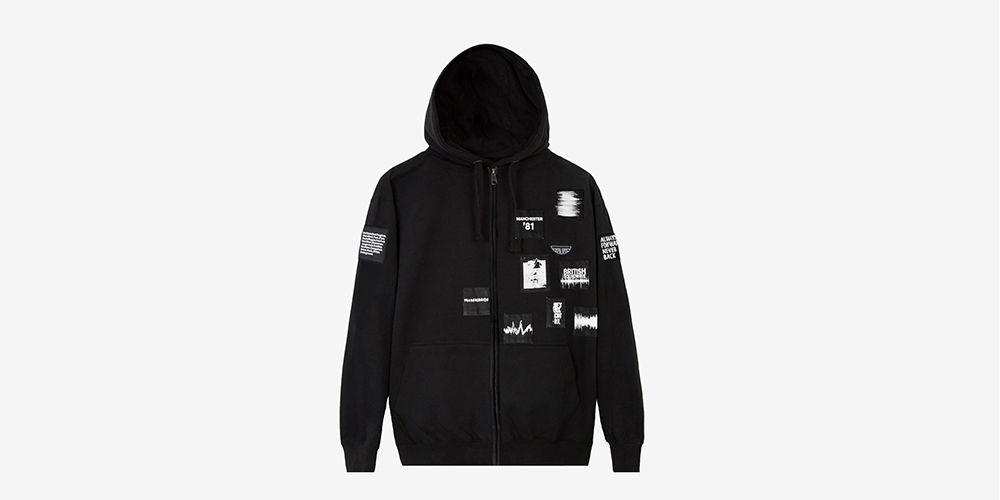 Underground heavyweight black hoodie with zipper and screen print patches from British Sound Collection. Made in the UK. BRITISH. MUSIC. AUTHENTIC.