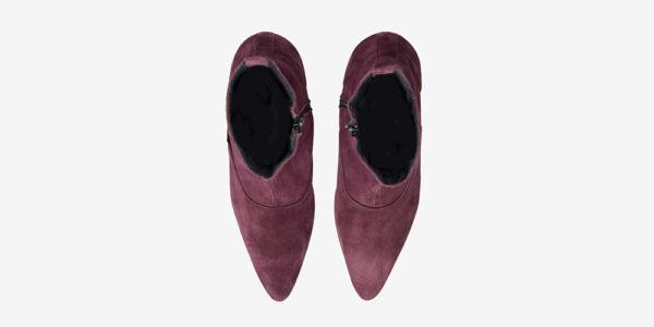 Underground England Marlon Winklepicker burgundy suede boot with zip for men and women